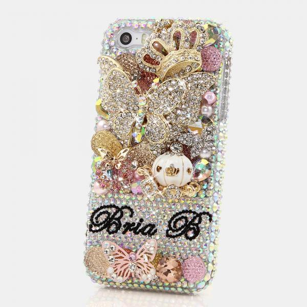 Bling Crystals Phone Case for iPhone 6 / 6s, iPhone 6 / 6s PLUS, iPhone 4, 5, 5S, 5C, Samsung Note 2, Note 3, Note 4, Galaxy S3, S4, S5, S6, S6 Edge, HTC ONE M9 (3D BUTTERFLY PRINCESS PERSONALIZED NAME & INITIALS DESIGN) By LuxAddiction