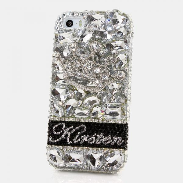 Bling Crystals Phone Case for iPhone 6 / 6s, iPhone 6 / 6s PLUS, iPhone 4, 5, 5S, 5C, Samsung Note 2, Note 3, Note 4, Galaxy S3, S4, S5, S6, S6 Edge, HTC ONE M9 (SILVER CROWN PERSONALIZED NAME & INITIALS DESIGN) By LuxAddiction
