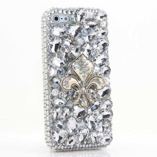 Bling Crystals Phone Case for iPhone 6 / 6s, iPhone 6 / 6s PLUS, iPhone 4, 5, 5S, 5C, Samsung Note 2, Note 3, Note 4, Galaxy S3, S4, S5, S6, S6 Edge, HTC ONE M9 (SILVER FLEUR DE LIS DESIGN) By LuxAddiction