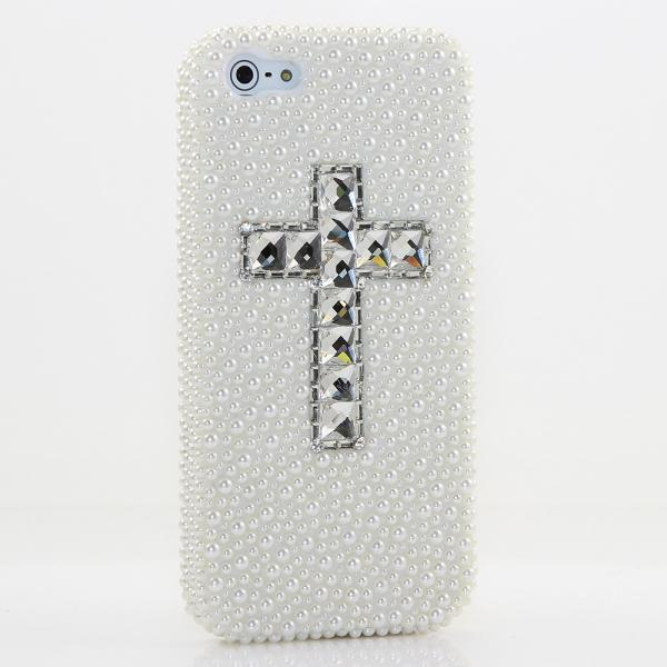 Bling Crystals Phone Case for iPhone 6 / 6s, iPhone 6 / 6s PLUS, iPhone 4, 5, 5S, 5C, Samsung Note 2, Note 3, Note 4, Galaxy S3, S4, S5, S6, S6 Edge, HTC ONE M9 (WHITE PEARL CROSS DESIGN) By LuxAddiction
