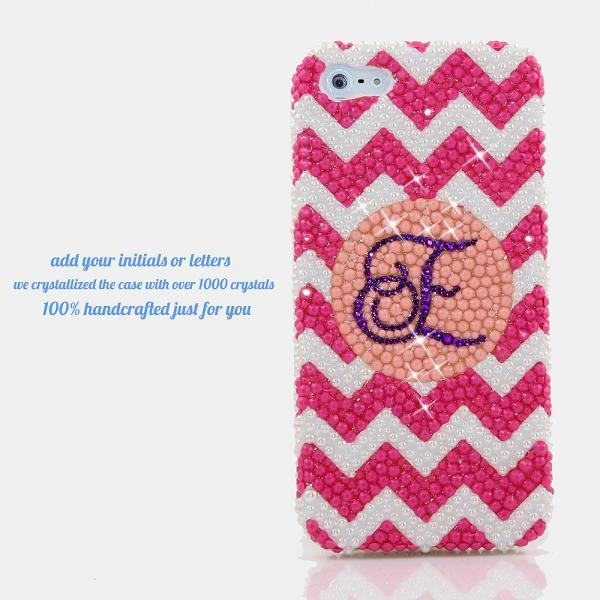 Bling Crystals Phone Case For IPhone 6 / 6s, IPhone 6 / 6s PLUS, iPhone 4, 5, 5S, 5C, Samsung Note 2, Note 3, Note 4, Galaxy S3, S4, S5, S6, S6 Edge, HTC ONE M9 (PINK AND WHITE CHEVRON PERSONALIZED MONOGRAM DESIGN) By LuxAddiction