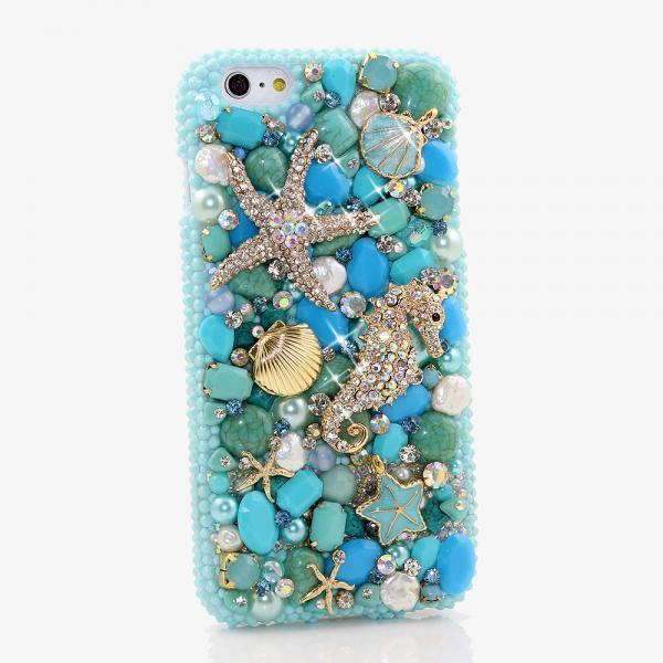 Bling Crystals Phone Case for iPhone 6 / 6s, iPhone 6 / 6s PLUS, iPhone 4, 5, 5S, 5C, Samsung Note 2, Note 3, Note 4, Galaxy S3, S4, S5, S6, S6 Edge, HTC ONE M9 (TURQUOISE OCEAN DESIGN) By LuxAddiction