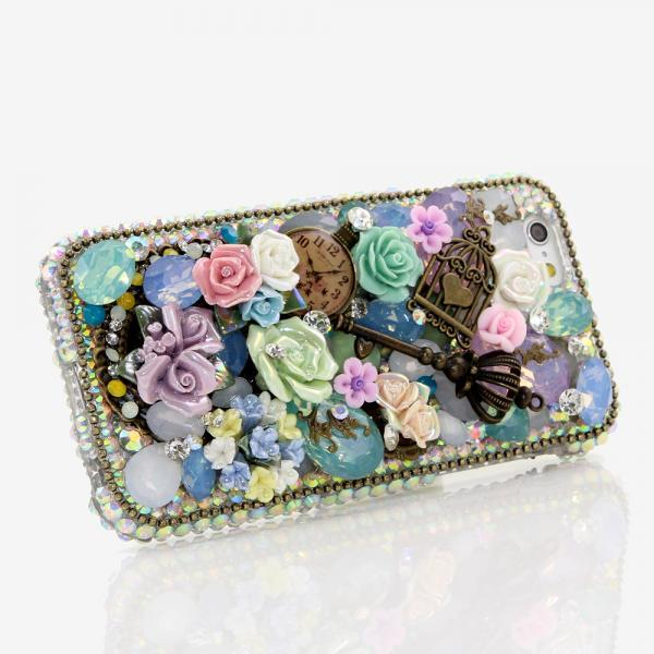 Bling Crystals Phone Case for iPhone 6, iPhone 6 PLUS, iPhone 4, 5, 5S, 5C, Samsung Note 2, Note 3, Note 4, Galaxy S3, S4, S5, S6, S6 Edge, HTC ONE M9 (TURQUOISE AND PINK DESIGN) By LuxAddiction