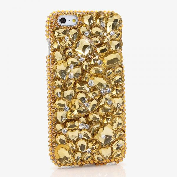 Bling Crystals Phone Case for iPhone 6 / 6s, iPhone 6 / 6s PLUS, iPhone 4, 5, 5S, 5C, Samsung Note 2, Note 3, Note 4, Galaxy S3, S4, S5, S6, S6 Edge, HTC ONE M9 (GOLDEN STONES DESIGN) By LuxAddiction